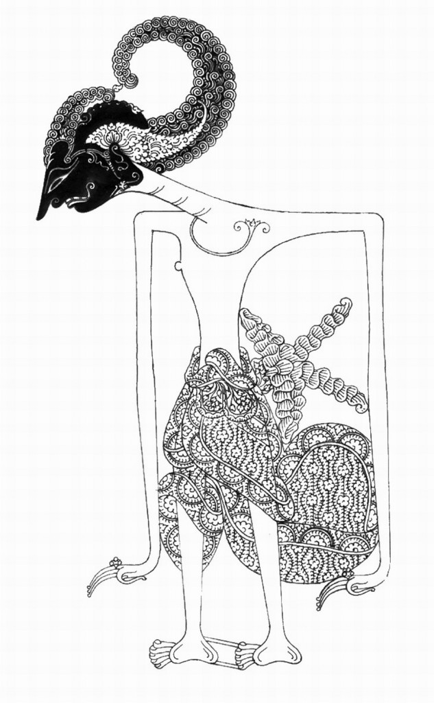 Gambar hitam-putih wayang tokoh harjuna wanda kinanthi, yang